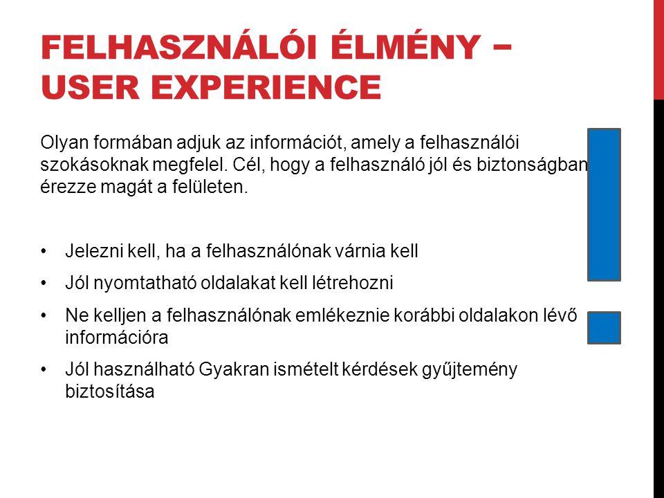 Felhasználói élmény − user experience