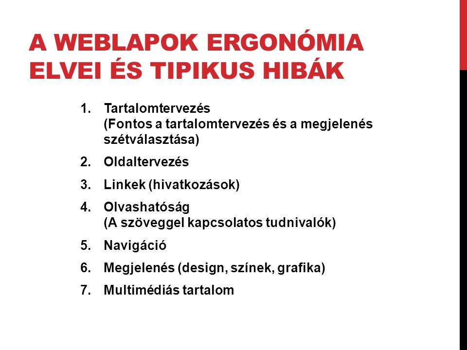 A weblapok ergonómia elvei és tipikus hibák