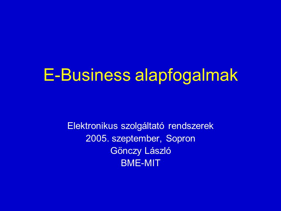 E-Business alapfogalmak