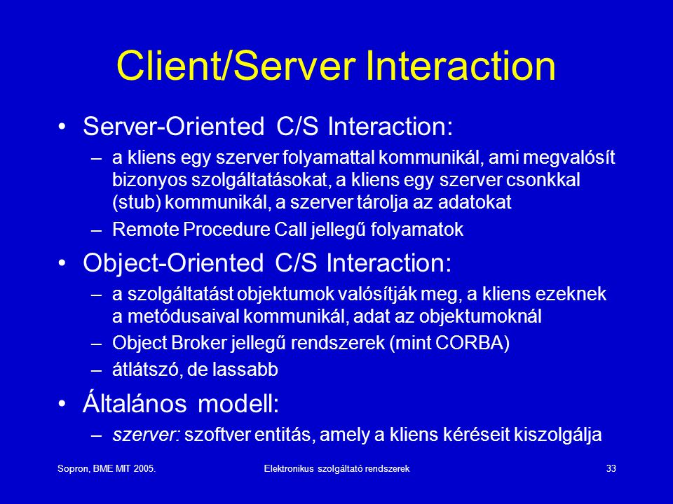 Client/Server Interaction