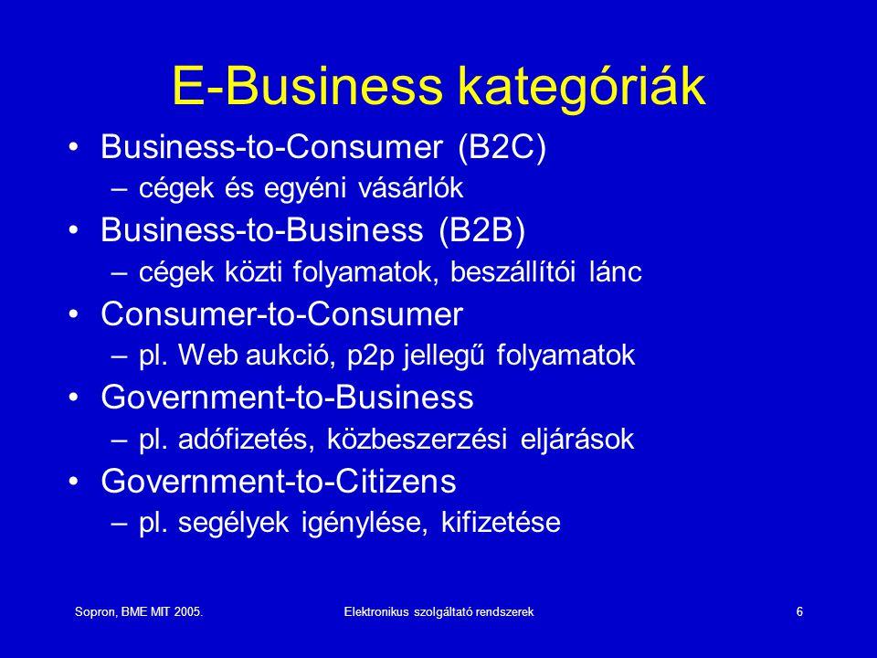 E-Business kategóriák