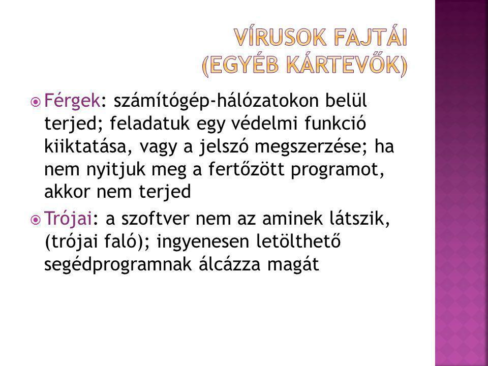 Vírusok fajtái (egyéb kártevők)