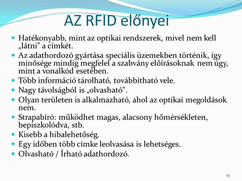 """AZ RFID előnyei Hatékonyabb, mint az optikai rendszerek, mivel nem kell """"látni a címkét."""