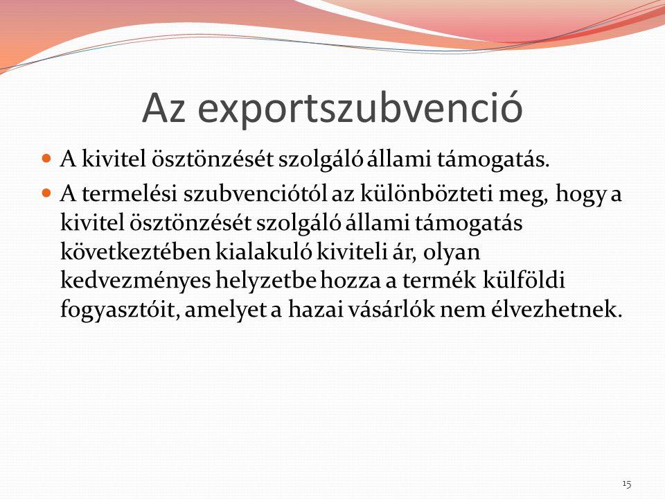 Az exportszubvenció A kivitel ösztönzését szolgáló állami támogatás.
