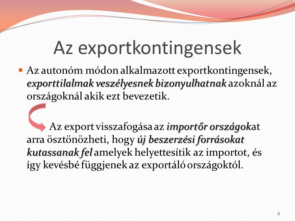 Az exportkontingensek