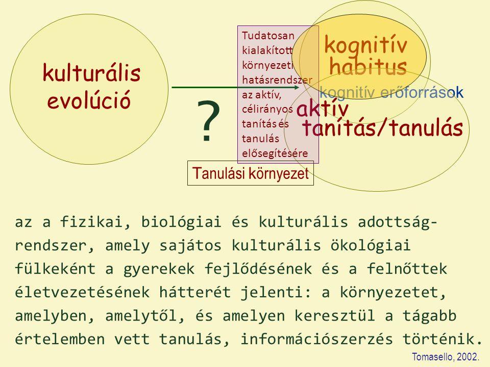 kognitív habitus kulturális evolúció aktív tanítás/tanulás
