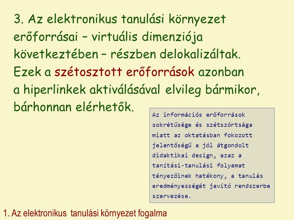 3. Az elektronikus tanulási környezet erőforrásai – virtuális dimenziója következtében – részben delokalizáltak. Ezek a szétosztott erőforrások azonban a hiperlinkek aktiválásával elvileg bármikor, bárhonnan elérhetők.