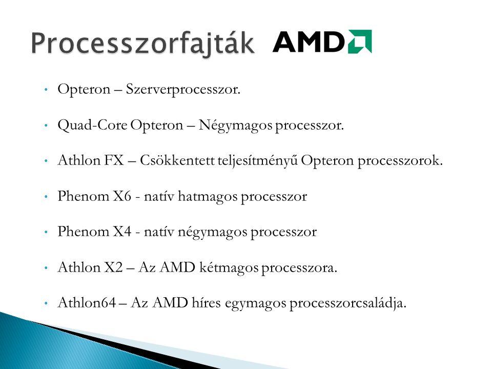 Processzorfajták Opteron – Szerverprocesszor.