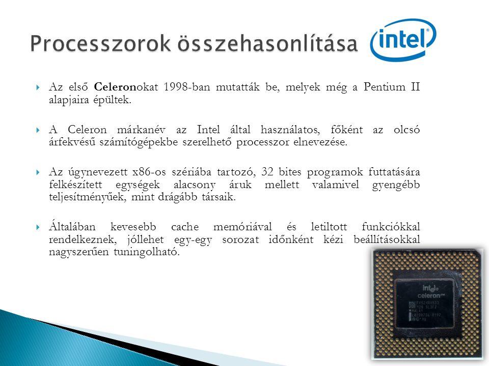 Processzorok összehasonlítása