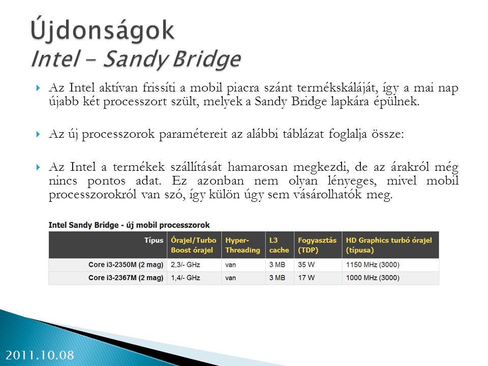Újdonságok Intel - Sandy Bridge
