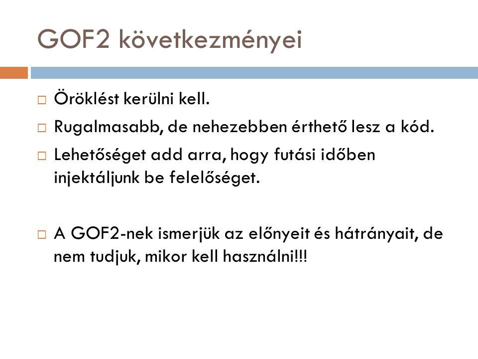 GOF2 következményei Öröklést kerülni kell.