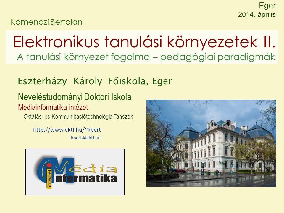 Eger 2014. április Komenczi Bertalan. Elektronikus tanulási környezetek II. A tanulási környezet fogalma – pedagógiai paradigmák.