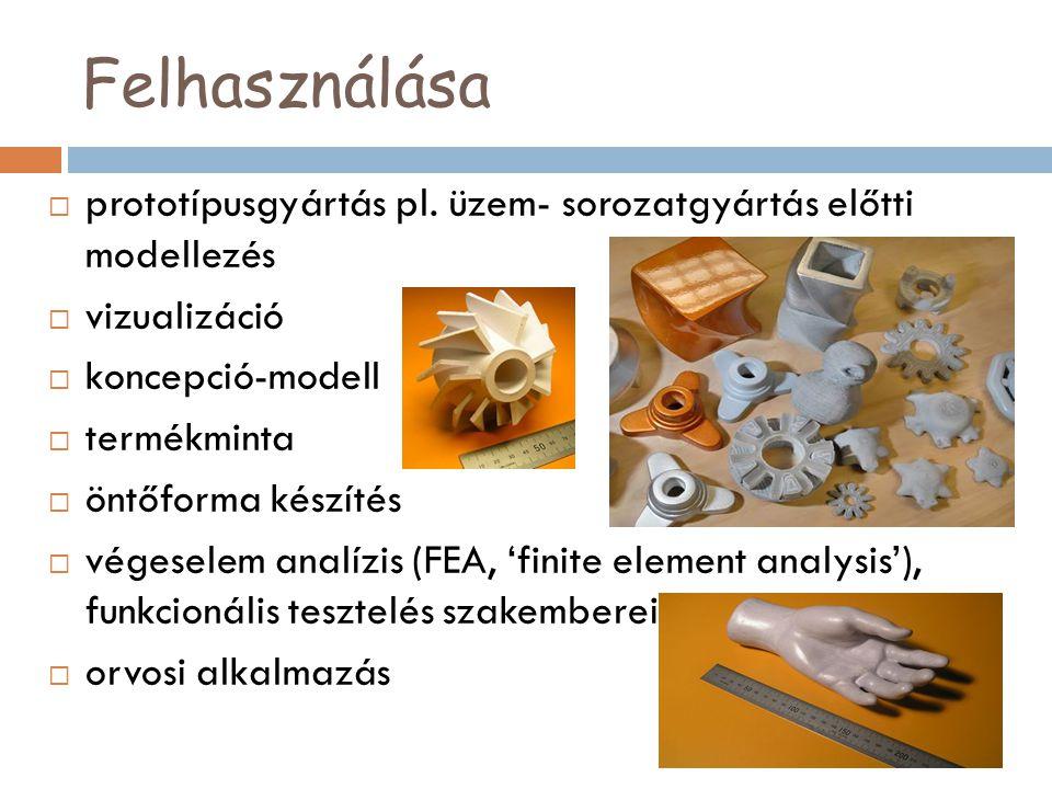 Felhasználása prototípusgyártás pl. üzem- sorozatgyártás előtti modellezés. vizualizáció. koncepció-modell.