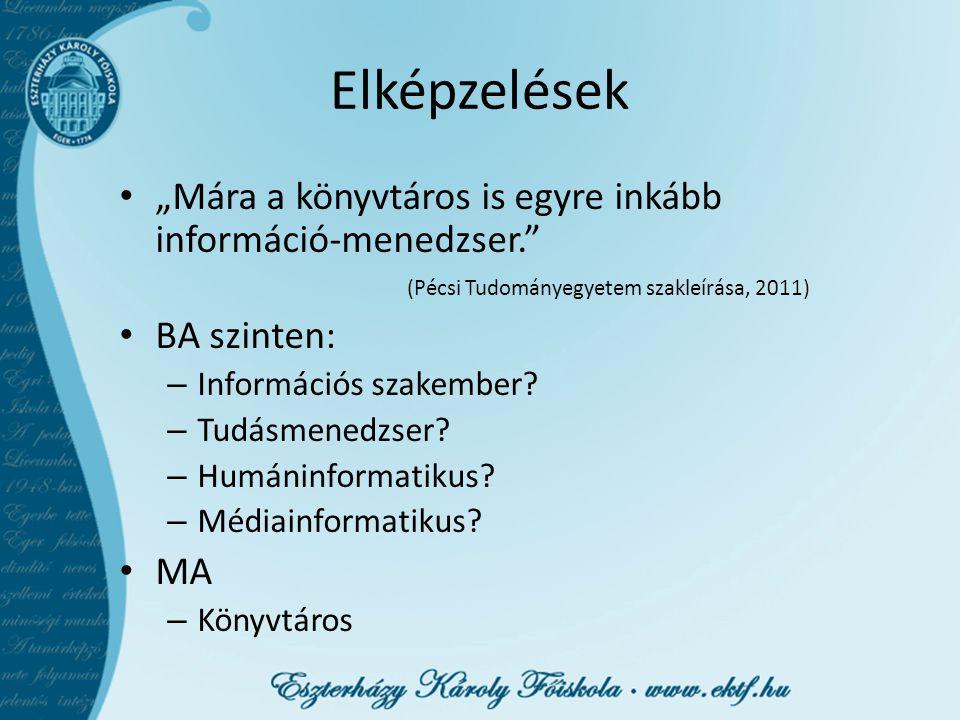 """Elképzelések """"Mára a könyvtáros is egyre inkább információ-menedzser. (Pécsi Tudományegyetem szakleírása, 2011)"""