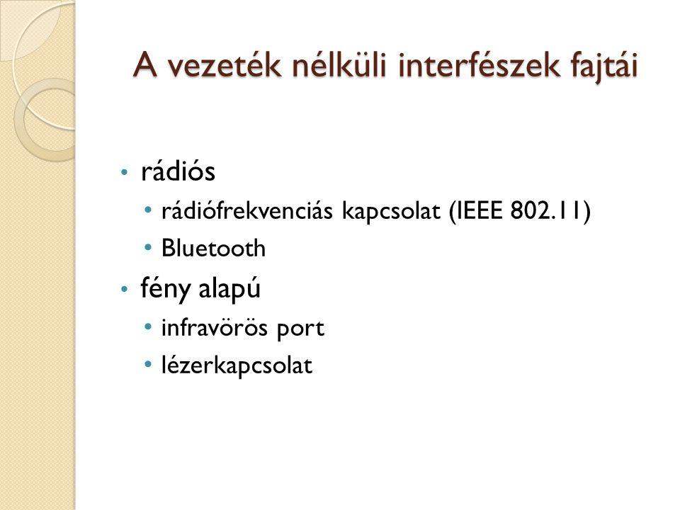 A vezeték nélküli interfészek fajtái