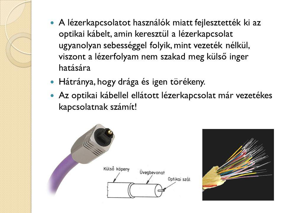 A lézerkapcsolatot használók miatt fejlesztették ki az optikai kábelt, amin keresztül a lézerkapcsolat ugyanolyan sebességgel folyik, mint vezeték nélkül, viszont a lézerfolyam nem szakad meg külső inger hatására