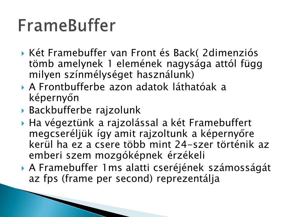 FrameBuffer Két Framebuffer van Front és Back( 2dimenziós tömb amelynek 1 elemének nagysága attól függ milyen színmélységet használunk)