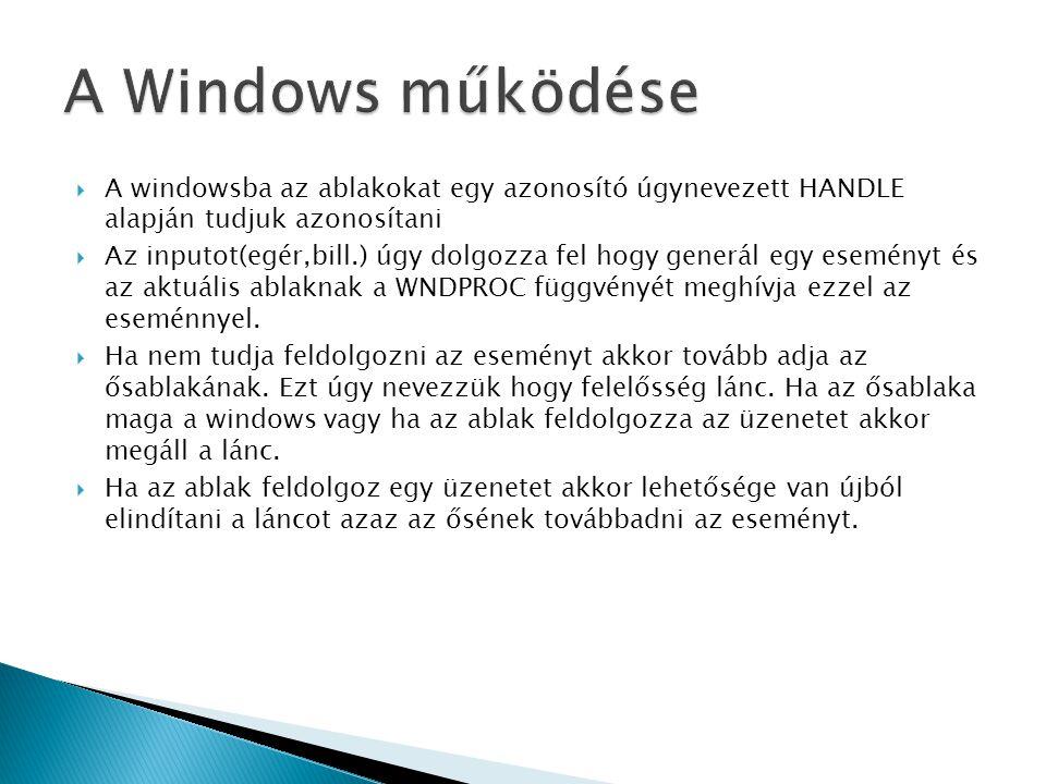 A Windows működése A windowsba az ablakokat egy azonosító úgynevezett HANDLE alapján tudjuk azonosítani.