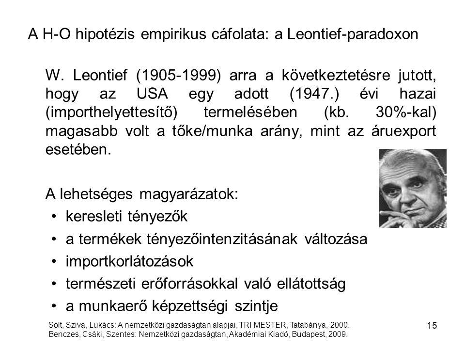 A H-O hipotézis empirikus cáfolata: a Leontief-paradoxon