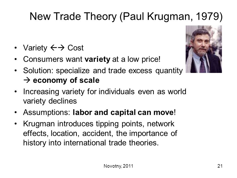 New Trade Theory (Paul Krugman, 1979)