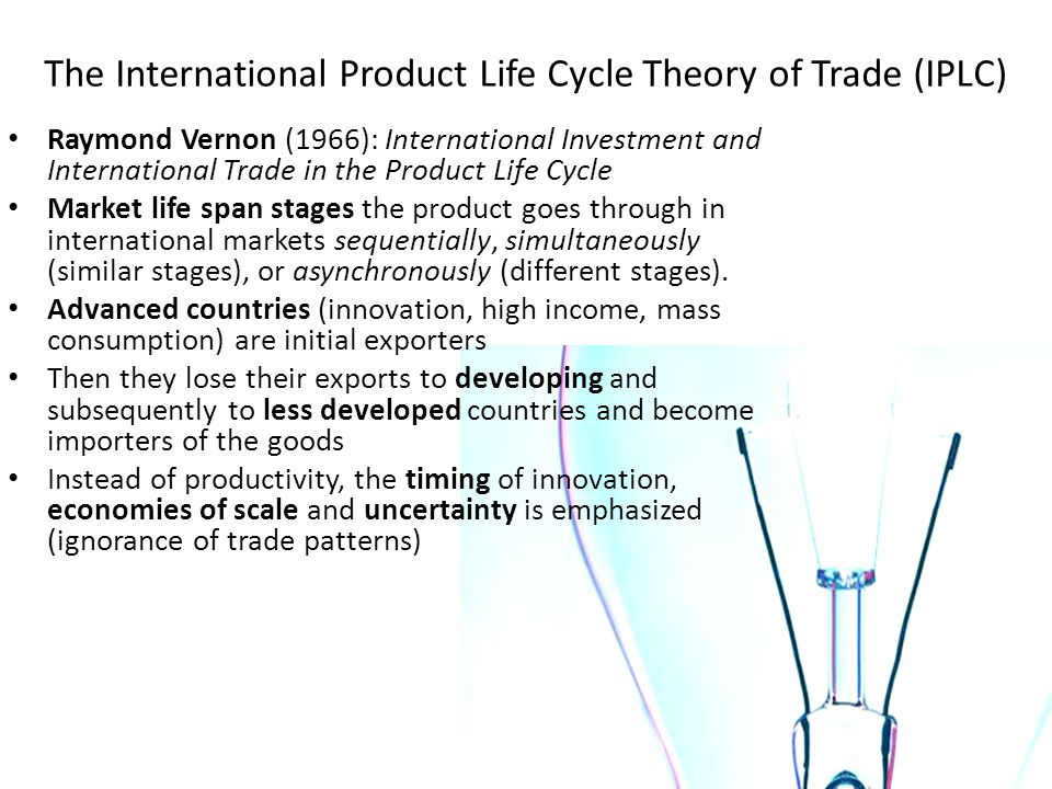 The International Product Life Cycle Theory of Trade (IPLC)