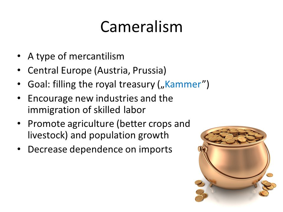 Cameralism A type of mercantilism Central Europe (Austria, Prussia)
