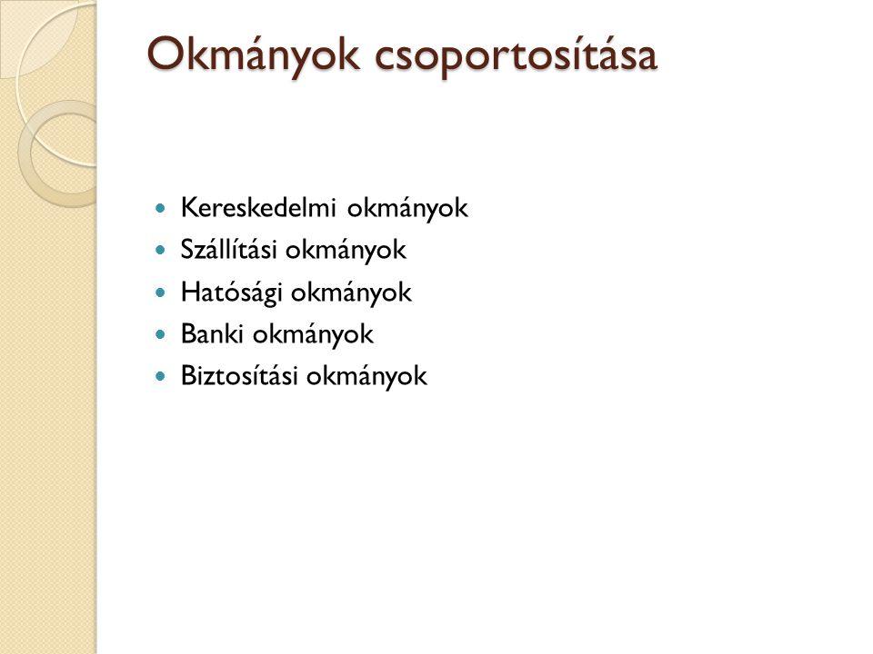 Okmányok csoportosítása