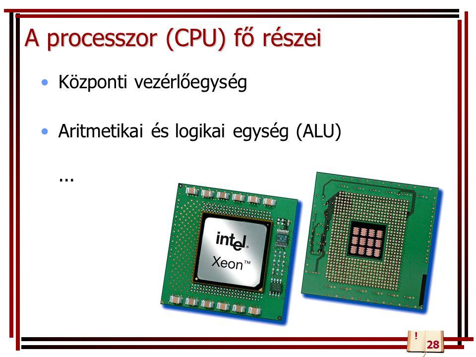 A processzor (CPU) fő részei