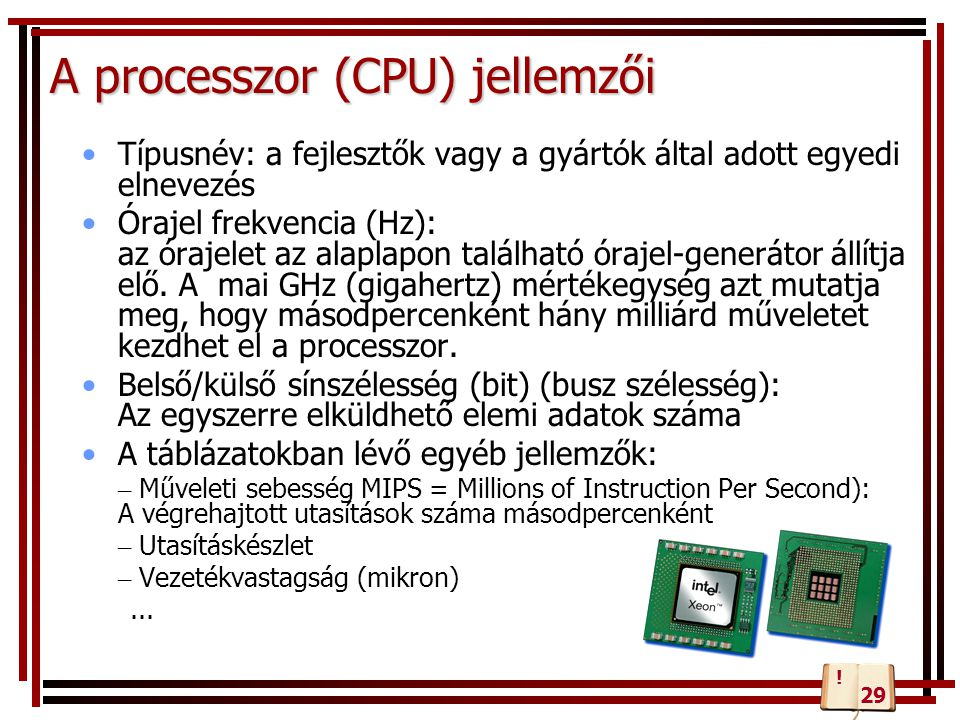 A processzor (CPU) jellemzői