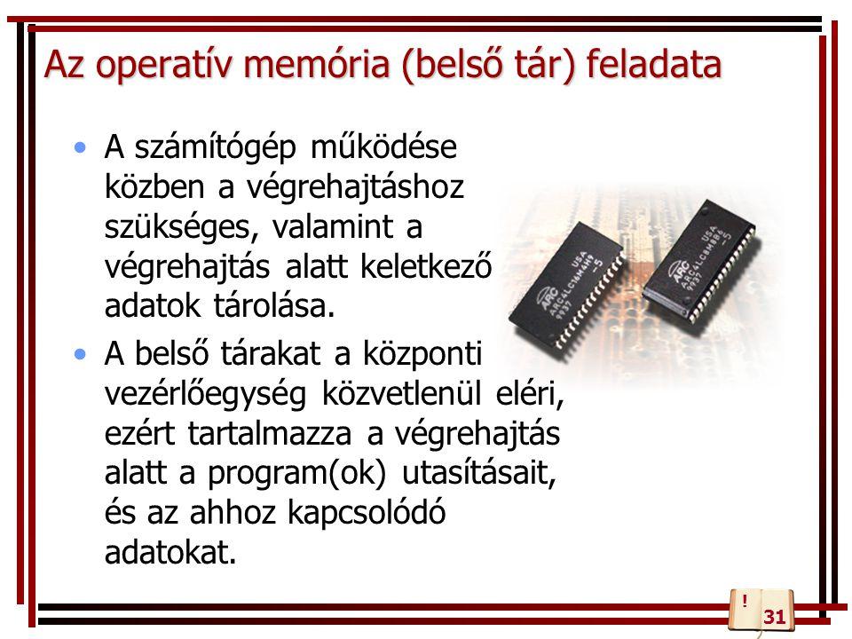 Az operatív memória (belső tár) feladata