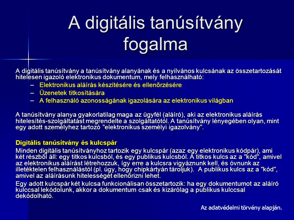 A digitális tanúsítvány fogalma