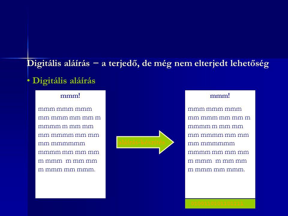 Digitális aláírás − a terjedő, de még nem elterjedt lehetőség