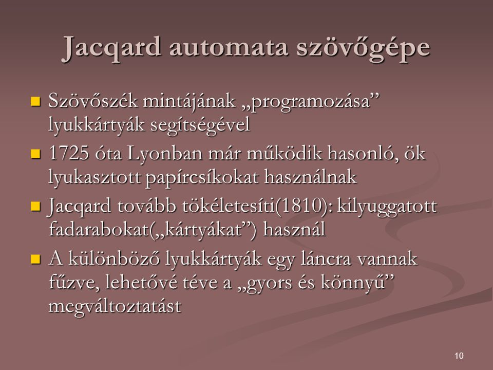 Jacqard automata szövőgépe
