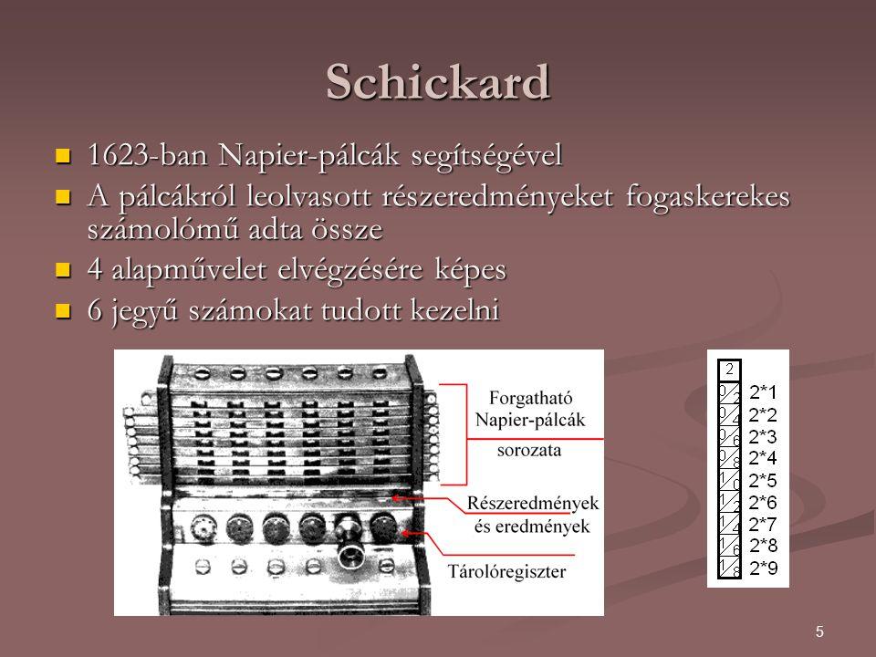 Schickard 1623-ban Napier-pálcák segítségével