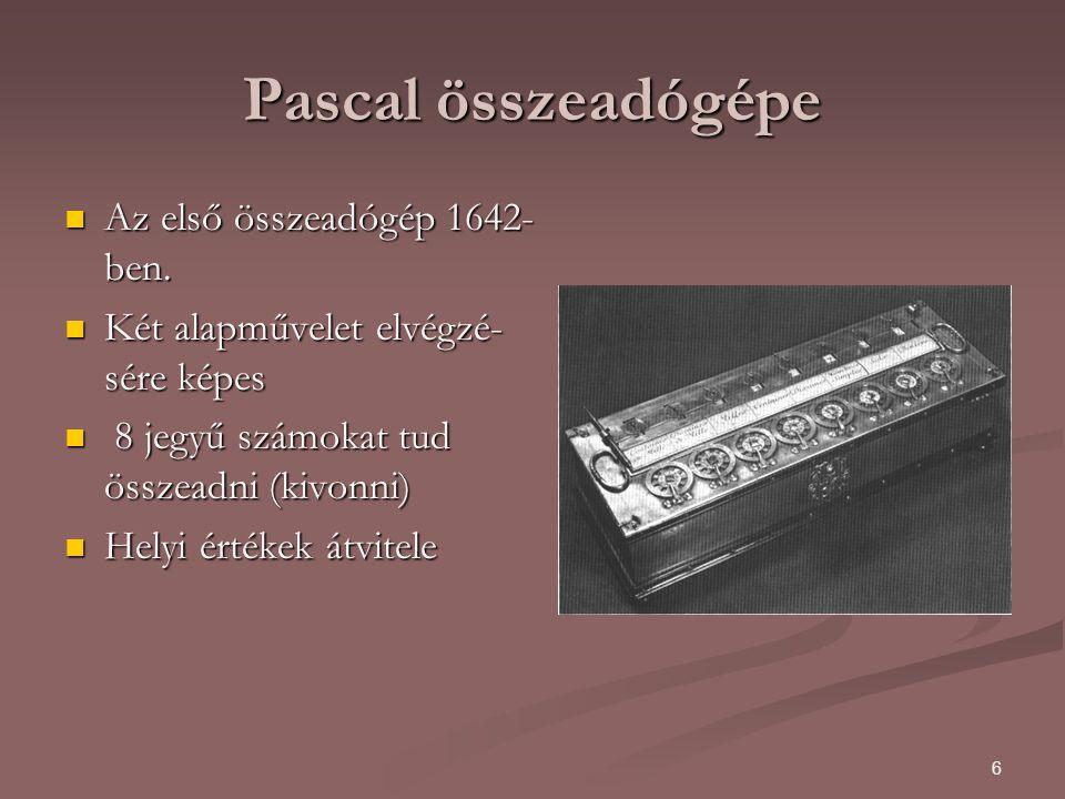 Pascal összeadógépe Az első összeadógép 1642-ben.