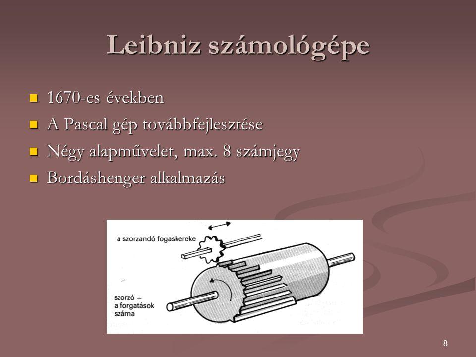 Leibniz számológépe 1670-es években A Pascal gép továbbfejlesztése