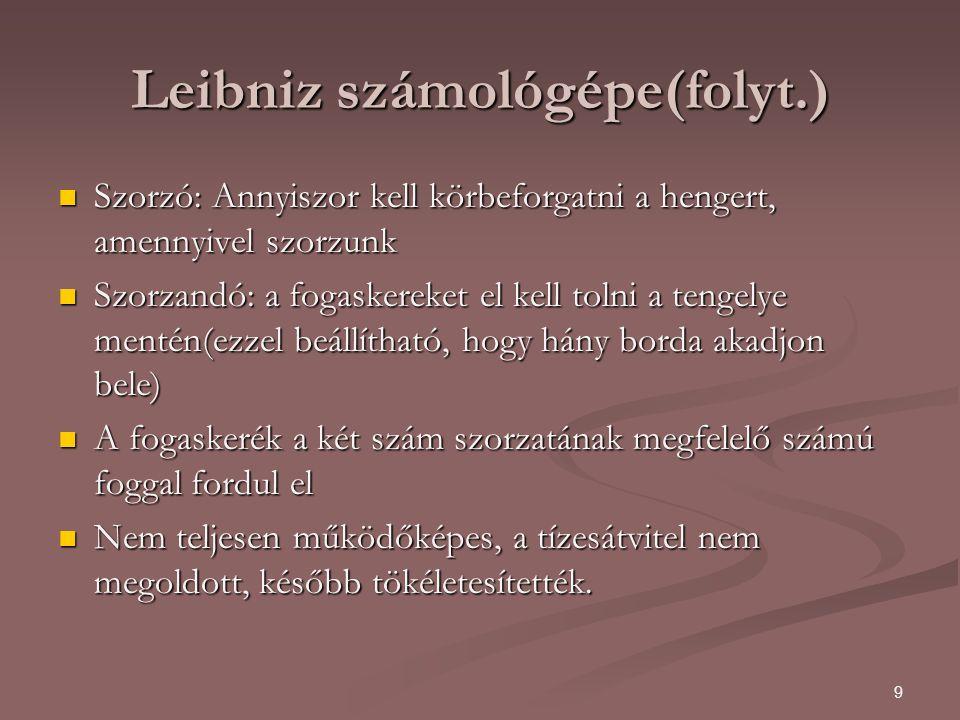 Leibniz számológépe(folyt.)