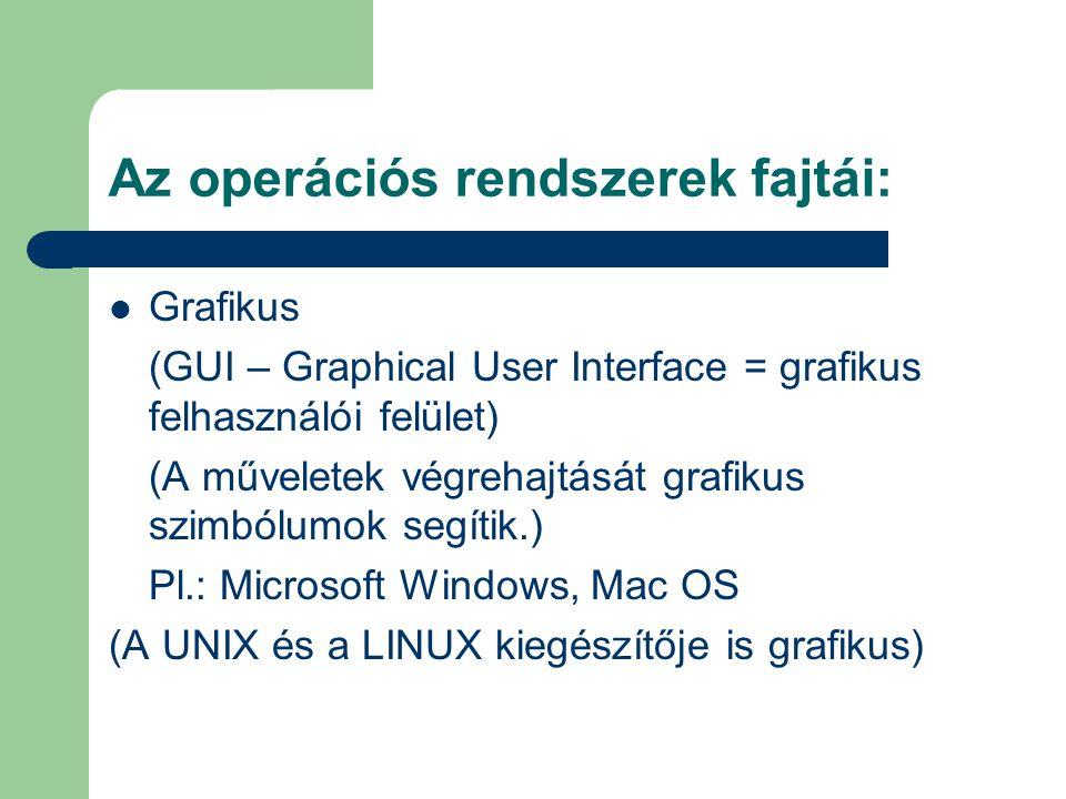 Az operációs rendszerek fajtái: