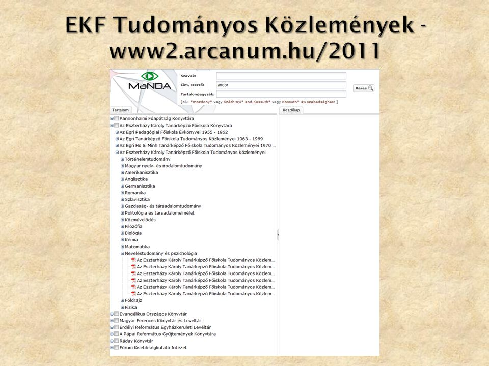 EKF Tudományos Közlemények - www2.arcanum.hu/2011