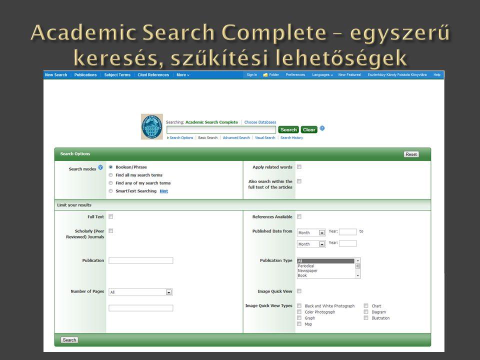 Academic Search Complete – egyszerű keresés, szűkítési lehetőségek