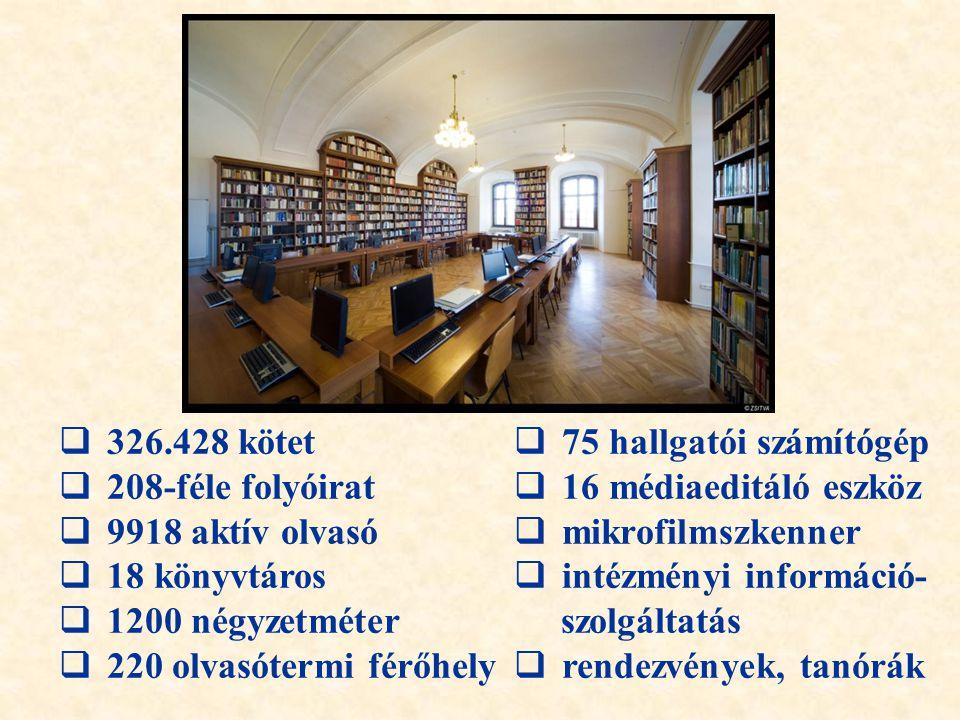 326.428 kötet 75 hallgatói számítógép. 208-féle folyóirat. 16 médiaeditáló eszköz. 9918 aktív olvasó.