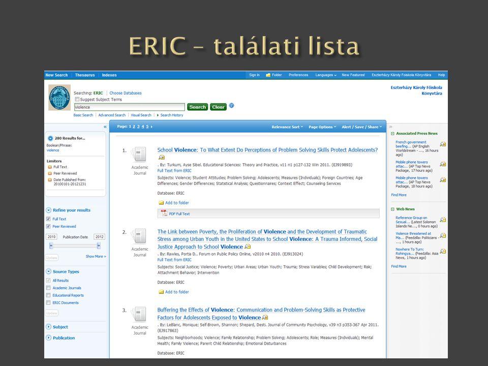 ERIC – találati lista