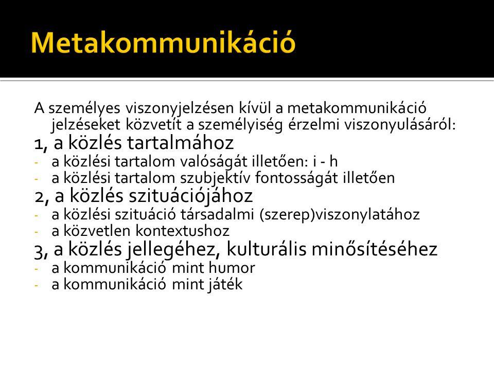 Metakommunikáció 1, a közlés tartalmához 2, a közlés szituációjához