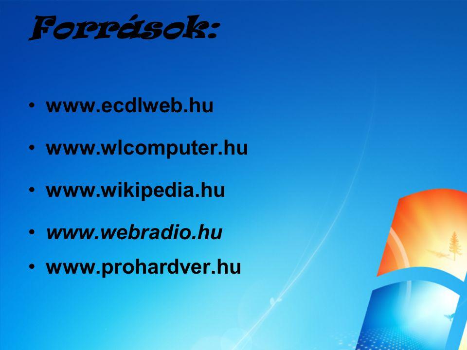 Források: www.ecdlweb.hu www.wlcomputer.hu www.wikipedia.hu