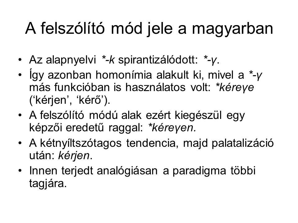 A felszólító mód jele a magyarban