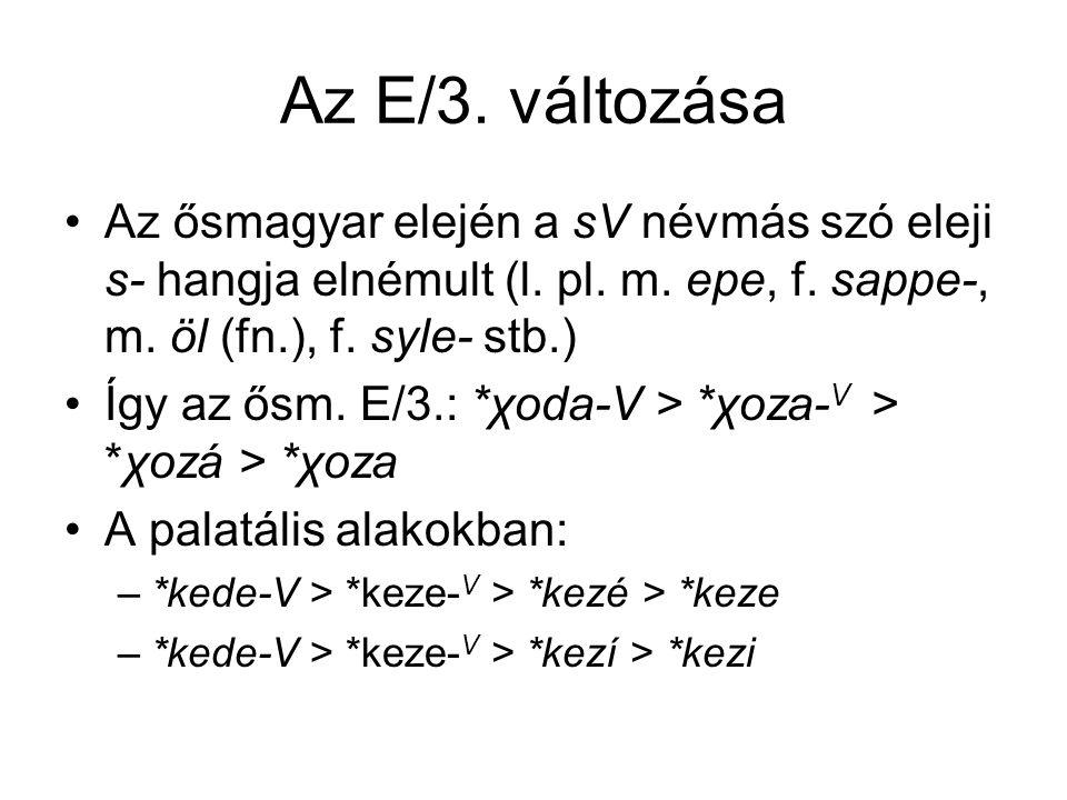 Az E/3. változása Az ősmagyar elején a sV névmás szó eleji s- hangja elnémult (l. pl. m. epe, f. sappe-, m. öl (fn.), f. syle- stb.)