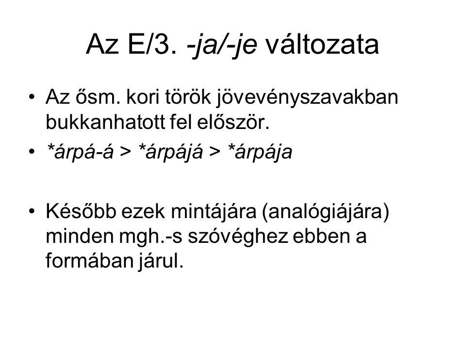 Az E/3. -ja/-je változata