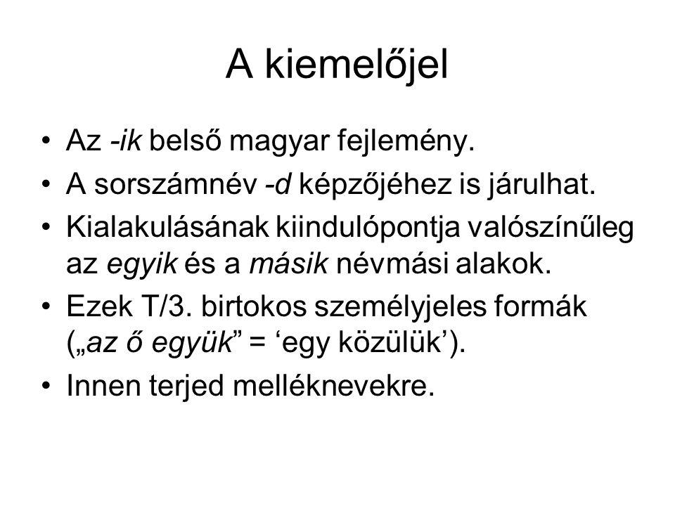 A kiemelőjel Az -ik belső magyar fejlemény.