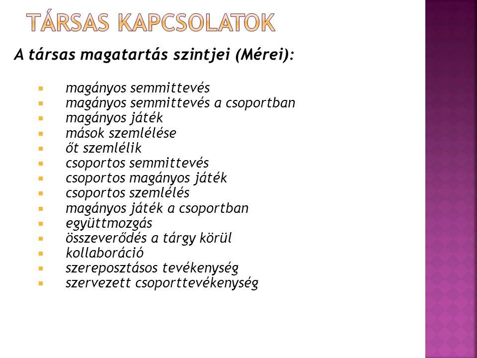 Társas kapcsolatok A társas magatartás szintjei (Mérei):