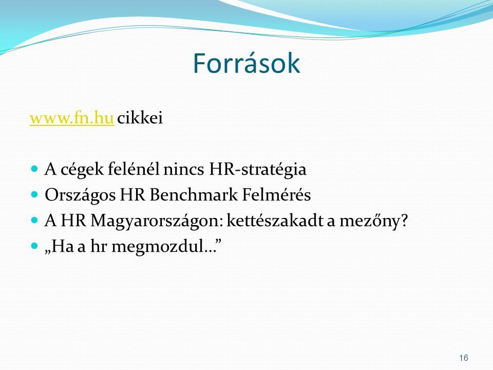 Források www.fn.hu cikkei A cégek felénél nincs HR-stratégia